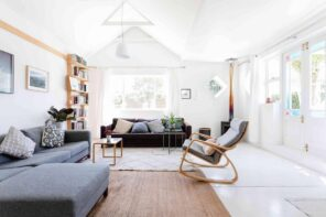 How to Design Your Room Like an Interior Designer? Scandinavian styled living room with wooden floor, white painted walls and white rugs